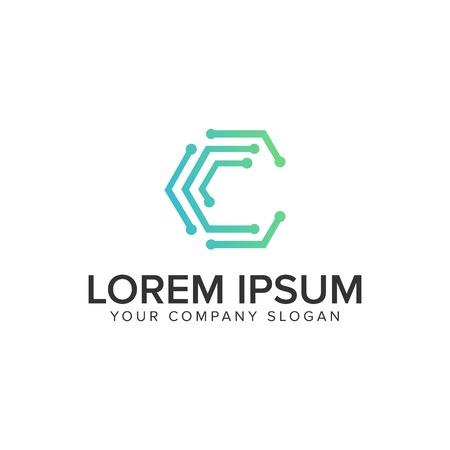 Letter C internet dot logo design concept template. Illustration