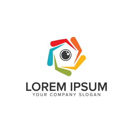 Camera lens Logo design concept template.