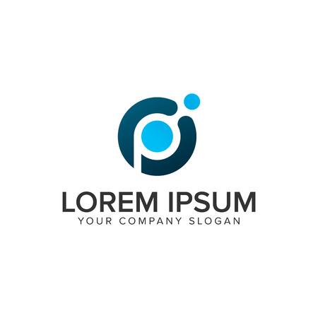 Letter P dot tech logo design concept template.