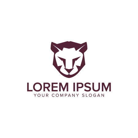 Lion tiger logo design concept template.