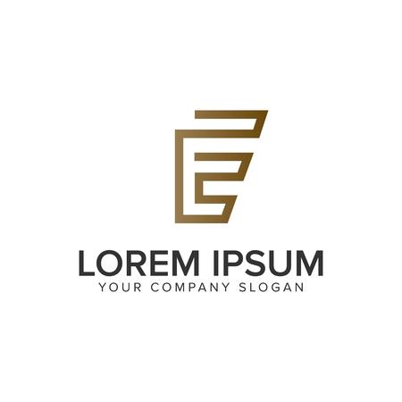 Luxury line letter E minimalist logo design concept template. 일러스트