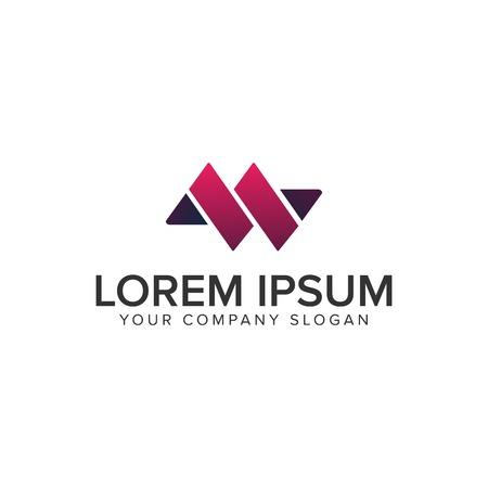Modèle de concept de conception de logo lettre M ou W.