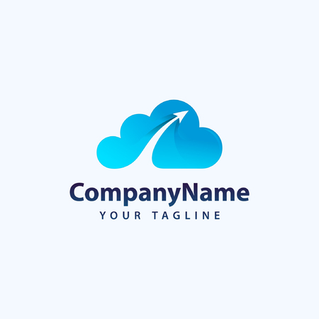 Creative Vector icon of a blue cloud with arrows. Illustration