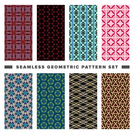 Set of seamless decorative geometric shapes pattern