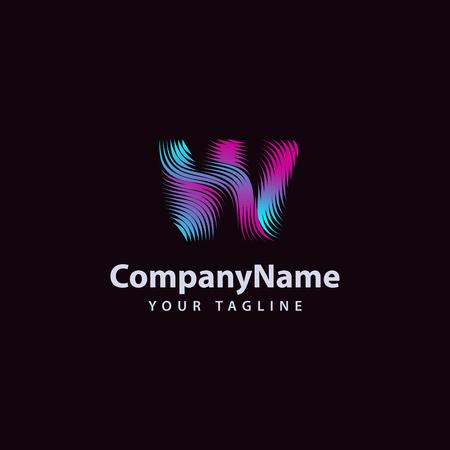 Letter W modern Wave line Logo design template.