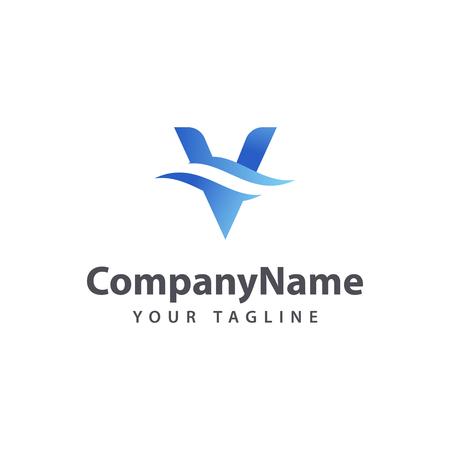 Letter V Wave logo design template. Illustration