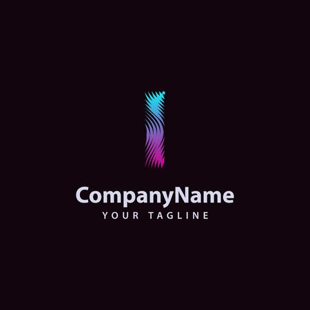 Letter I modern Wave line Logo design template. Vector illustration.