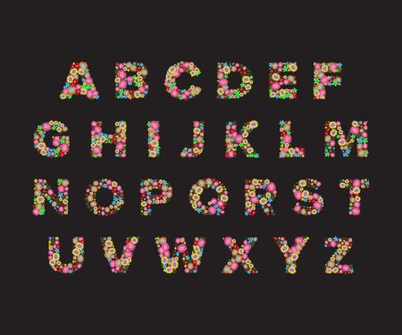 vector flower font,capital Alphabet