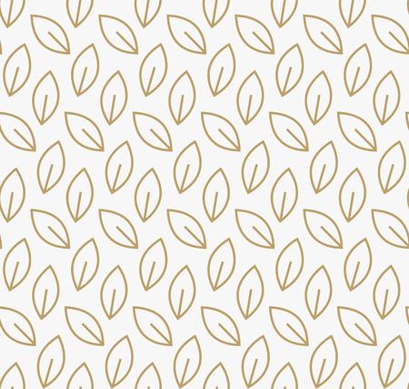 Geometric floral leaf ornament line seamless pattern, modern minimalist style pattern background