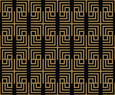 Seamless pattern with squares, black gold diagonal braided striped lines. Vector ornamental background. Futuristic vibrant design. Ilustração