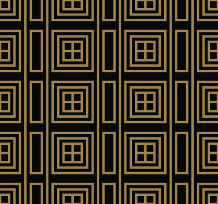 Seamless pattern with squares, black gold diagonal braided striped lines. Vector ornamental background. Futuristic vibrant design. Illusztráció