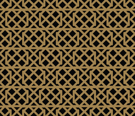 Seamless pattern with squares, black gold diagonal braided striped lines. Vector ornamental background. Futuristic vibrant design. Illustration