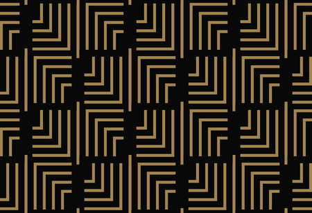 Seamless pattern with squares, black gold diagonal braided striped lines. Vector ornamental background. Futuristic vibrant design. Banco de Imagens - 100921825