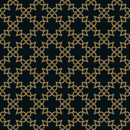 Seamless pattern of intersecting thin gold lines on black background. Abstract seamless ornament. Illustration