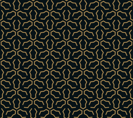 Seamless pattern of intersecting thin gold lines on black background. Abstract seamless ornament. Stock Illustratie