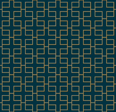 Abstract seamless pattern, Vector seamless pattern. Repeating geometric ornament . luxury gold blue color Ilustração