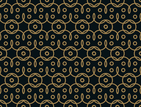 Seamless linear pattern with thin elegant curved lines and scrolls forming floral ornamental wallpaper. Abstract texture on gold black backdrop.