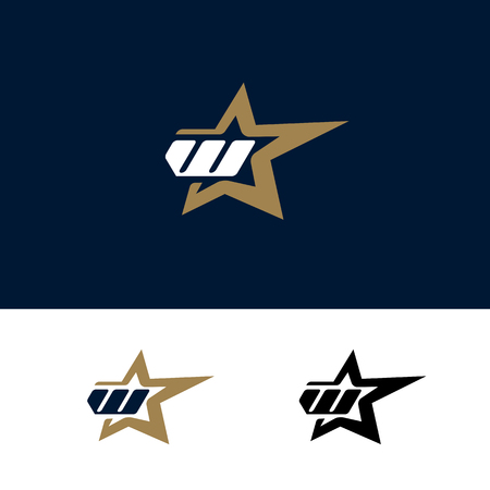 スターデザイン要素を持つ文字 W ロゴ テンプレート。ベクトルイラスト。コーポレートブランディングアイデンティティ