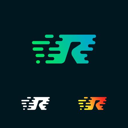 letter R modern speed shapes logo design vector Illustration