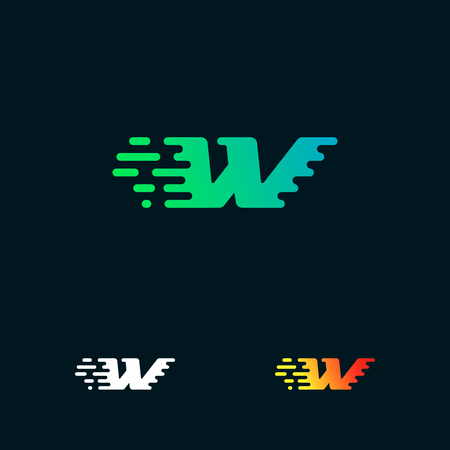 letter W modern speed shapes logo design vector