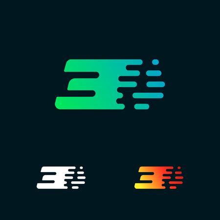Number 3 modern speed shapes logo design vector