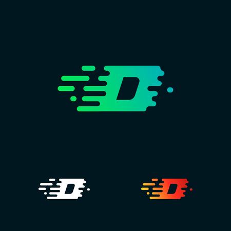 letter D modern speed shapes logo design vector Illustration