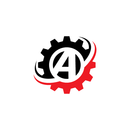 Letter A Gear Logo Design Template