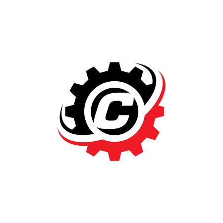 Letter C Gear Logo Design Template Illustration