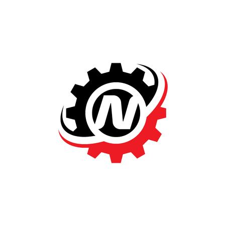 文字 N ギア ロゴ デザイン テンプレート