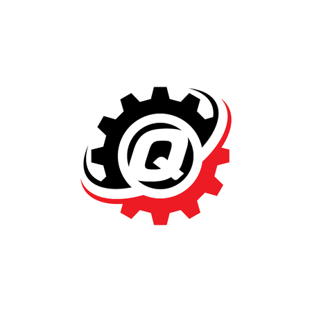 Letter Q Gear Logo Design Template Illustration