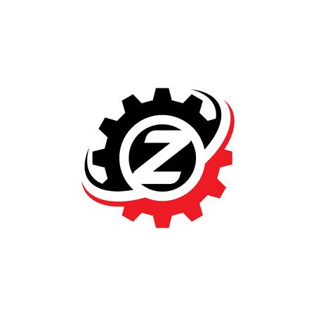 Letter Z Gear Logo Design Template Logó
