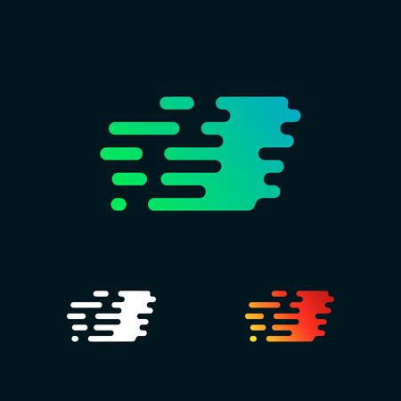 letter I modern speed shapes logo design vector Illustration