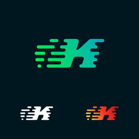 letter K modern speed shapes logo design vector Illustration