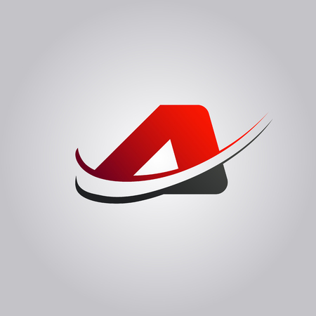initial A Letter logo with swoosh colored red and black