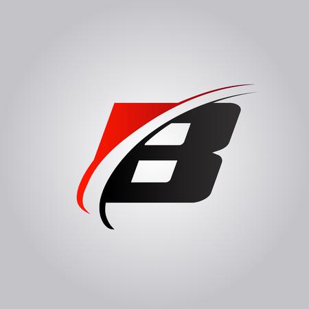 Logo de lettre B initiale avec swoosh de couleur rouge et noir