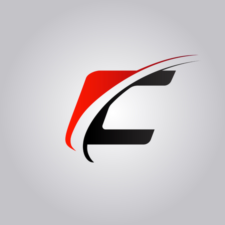 initial C Letter logo with swoosh colored red and black