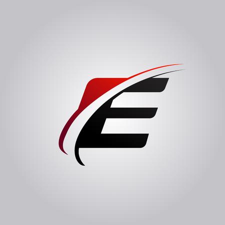letra inicial de la letra con el color rojo swoosh y negro Ilustración de vector