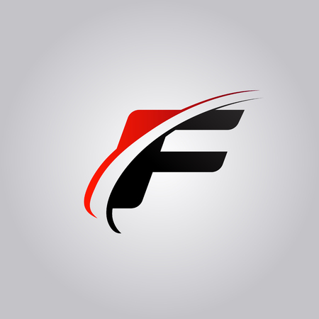 initial F Letter logo with swoosh colored red and black