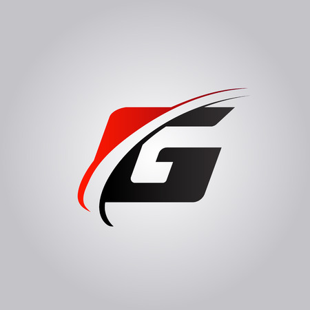 initial G Letter logo with swoosh colored red and black