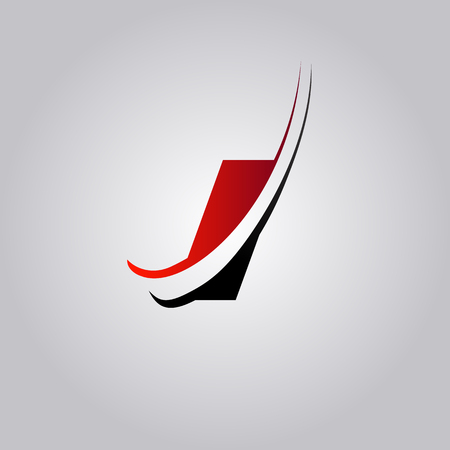 initial I Letter logo with swoosh colored red and black