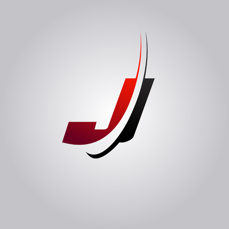 initial J Letter logo with swoosh colored red and black Illustration