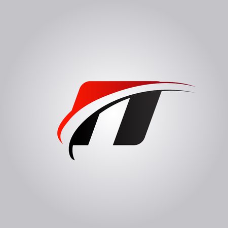 initial N Letter logo with swoosh colored red and black Illustration