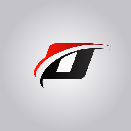 initial O Letter logo with swoosh colored red and black Ilustração