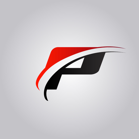 initial P Letter logo with swoosh colored red and black