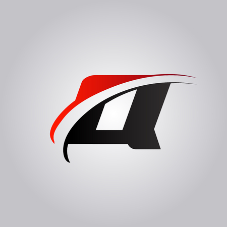 initial Q Letter logo with swoosh colored red and black