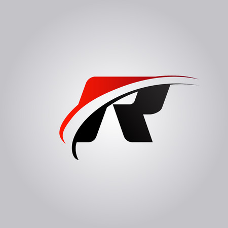 initial R Letter logo with swoosh colored red and black