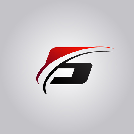 initial S Letter logo with swoosh colored red and black Stock Illustratie