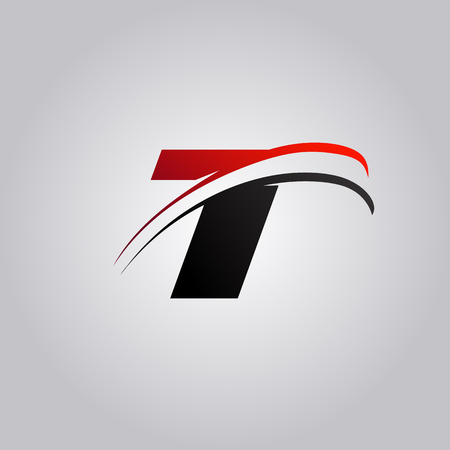 initial T Letter logo with swoosh colored red and black Illustration
