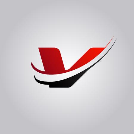 Logo de lettre V initiale avec swoosh de couleur rouge et noir Logo
