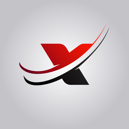 initial X Letter logo with swoosh colored red and black